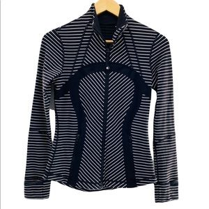 Lululemon Define Long Sleeve Jacket Black & White Parallel Stripes Size 6